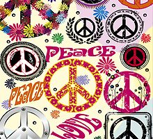Flower Power Peace And Love Hippie iPad / iPhone 4 / iPhone 5  Case / Samsung Galaxy Cases / Pillow / Tote Bag  by CroDesign