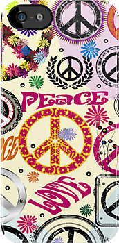 Flower Power Peace And Love Hippie iPad / iPhone 4 / iPhone 5  Case / Samsung Galaxy Cases  by CroDesign
