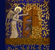 Angel at the Door - Royal Blue Version by Donna Huntriss