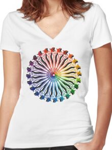 Wrench Color Wheel B Women's Fitted V-Neck T-Shirt