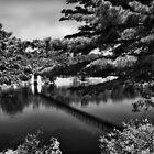 Androscoggin Swing Bridge (Black and White) by Anthony M. Davis