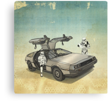lost searching for the DeathStarr_ 2 stormtroooper in A DELOREAN Canvas Print