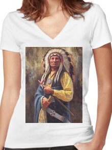 Red Cloud, Native American Art, James Ayers Studios Women's Fitted V-Neck T-Shirt