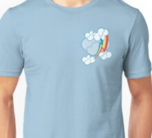 Rainbow Dash among the clouds Unisex T-Shirt