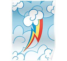 Rainbow Dash among the clouds Poster