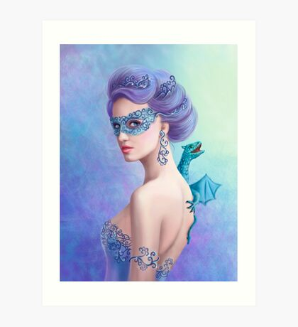 Fantasy winter woman, beautiful snow queen in mask with blue dragon Art Print