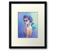 Fantasy winter woman, beautiful snow queen in mask with blue dragon Framed Print