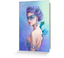 Fantasy winter woman, beautiful snow queen in mask with blue dragon Greeting Card