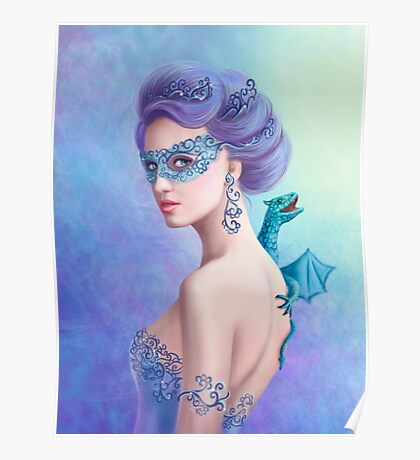 Fantasy winter woman, beautiful snow queen in mask with blue dragon Poster