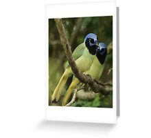 Just a Pair of Green Jays Greeting Card