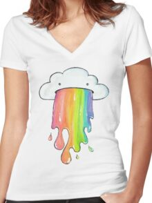 cute rainbow cloud  Women's Fitted V-Neck T-Shirt