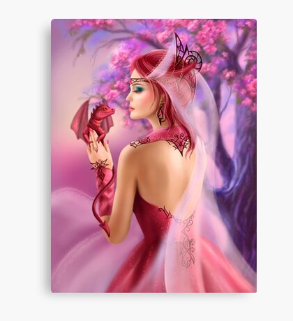 Beautiful fantasy woman queen and red dragon sakura background Canvas Print