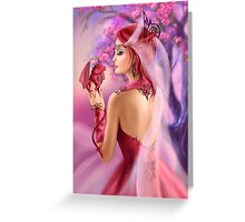 Beautiful fantasy woman queen and red dragon sakura background Greeting Card