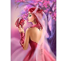 Beautiful fantasy woman queen and red dragon sakura background Photographic Print