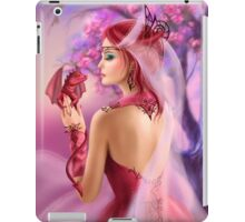 Beautiful fantasy woman queen and red dragon sakura background iPad Case/Skin