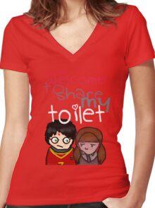Toilet Women's Fitted V-Neck T-Shirt