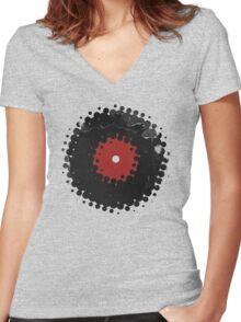 Grunge Vinyl Records Retro Vintage 50's Style T-Shirt! Women's Fitted V-Neck T-Shirt