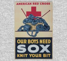 Our boys need sox knit your bit American Red Cross One Piece - Short Sleeve