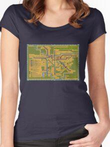 São Paulo City Metropolitan Transportation Map Women's Fitted Scoop T-Shirt