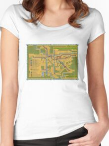 São Paulo City Metropolitan Transportation Map Women's Fitted Scoop T-Shirt