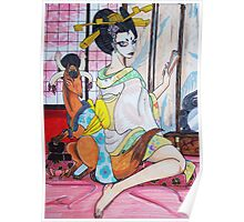 Geisha and kitsune Poster
