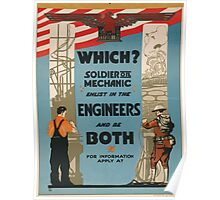 Which Soldier or mechanic enlist in the engineers and be both Poster