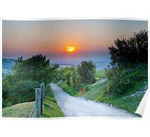 South Downs at sunset Poster