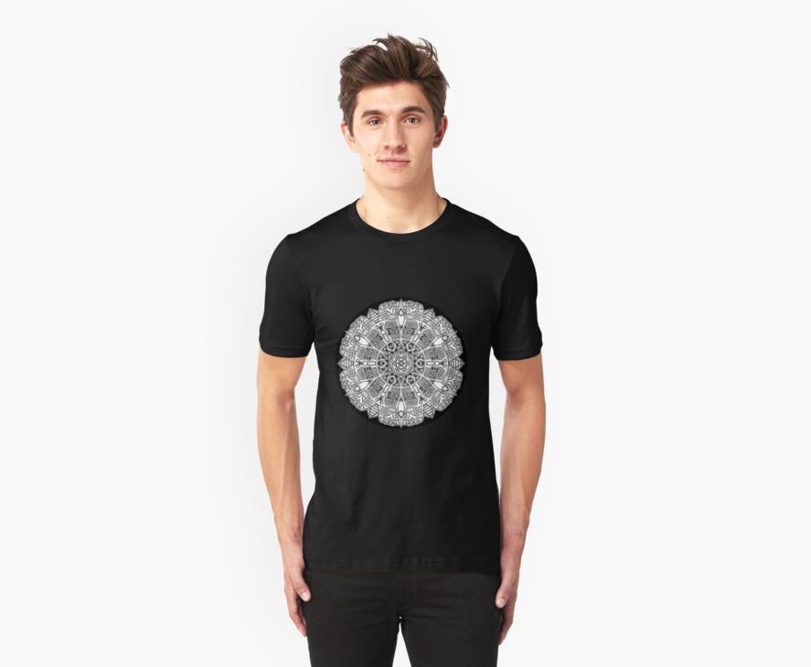 Mandala 47 Black and White T-Shirts & Hoodies by mandala-jim