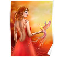 Fantasy beautiful woman fairy and bird Poster