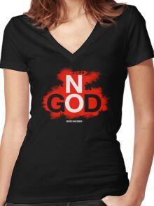 NO GOD Women's Fitted V-Neck T-Shirt