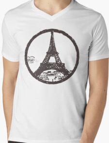 Eiffel Tower Peace Sign Mens V-Neck T-Shirt