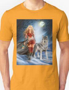 Fantasy Winter Warrior Princess and wolf T-Shirt