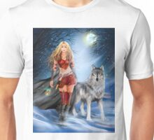 Fantasy Winter Warrior Princess and wolf Unisex T-Shirt