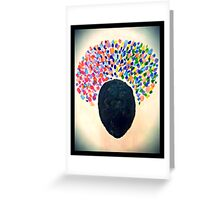 Stunning Abstract Afro Woman; flowers in her hair Greeting Card