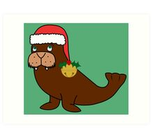 Christmas Walrus with Red Santa Hat, Holly & Gold Jingle Bell Art Print