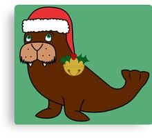 Christmas Walrus with Red Santa Hat, Holly & Gold Jingle Bell Canvas Print