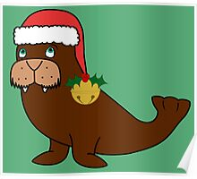Christmas Walrus with Red Santa Hat, Holly & Gold Jingle Bell Poster
