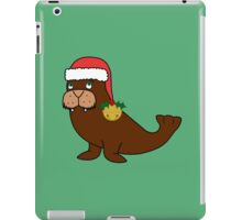 Christmas Walrus with Red Santa Hat, Holly & Gold Jingle Bell iPad Case/Skin