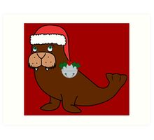 Christmas Walrus with Red Santa Hat, Holly & Silver Jingle Bell Art Print
