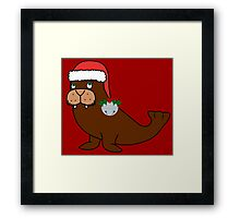Christmas Walrus with Red Santa Hat, Holly & Silver Jingle Bell Framed Print