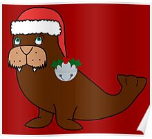 Christmas Walrus with Red Santa Hat, Holly & Silver Jingle Bell Poster