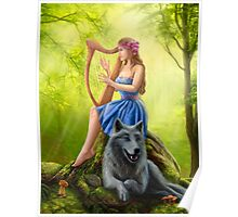 Fantasy girl fairy and friend wolf. Plays a harp. Morning wood. Poster