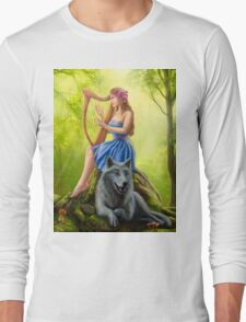 Fantasy girl fairy and friend wolf. Plays a harp. Morning wood. Long Sleeve T-Shirt