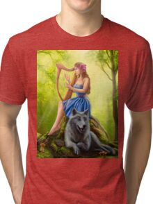 Fantasy girl fairy and friend wolf. Plays a harp. Morning wood. Tri-blend T-Shirt