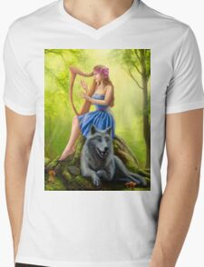Fantasy girl fairy and friend wolf. Plays a harp. Morning wood. Mens V-Neck T-Shirt