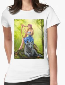 Fantasy girl fairy and friend wolf. Plays a harp. Morning wood. Womens Fitted T-Shirt