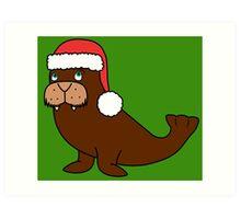Christmas Walrus with Red Santa Hat Art Print