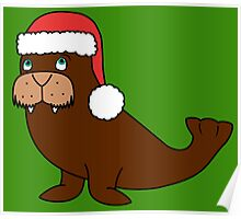 Christmas Walrus with Red Santa Hat Poster