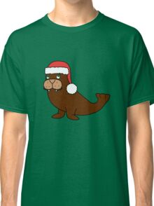Christmas Walrus with Red Santa Hat Classic T-Shirt