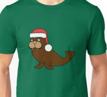 Christmas Walrus with Red Santa Hat Unisex T-Shirt